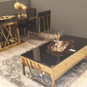 Aspen gouden set met zwart glas