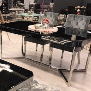 Awanos eettafel met spiegelglas bovenblad