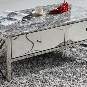 Aspen salon tafel met marmer look bovenblad.