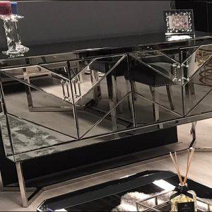 Awanos dressoir met spiegel en zilveren onderstel