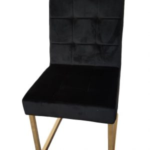 Alicia zwart stoel met gouden onderstel