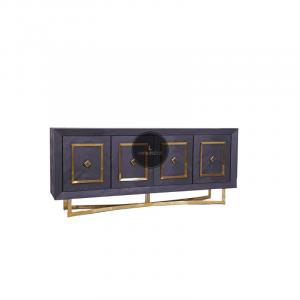 Dressoir Chess is gemaakt van mangohout in de kleur zwart met een fijn visgraat motief. Deze combinatie met RVS zorgt voor het stoere uiterlijk van deze tafel. Mangohout is een duurzame houtsoort, heeft een fijne nerf en is uniek, omdat elk stuk er net iets anders uitziet. Maak de look compleet met de eettafel , salontafel of een elegante tv-meubel. Verkrijgbaar in goud en zilver Afmeting 200x40x85cm hoog