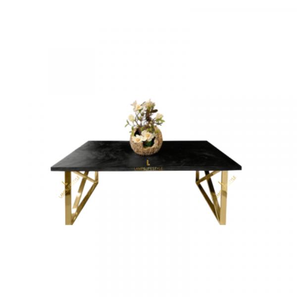 Deze stijlvolle Bonita salontafel heeft strakke stalen poten die charmant in box met een kruis. Het tafelblad bestaat uit zwarte visgraat en geeft de tafel een unieke uitstraling.