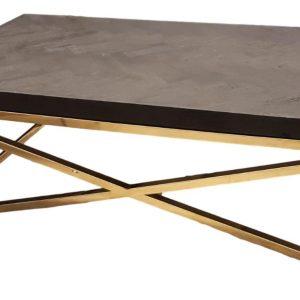 Deze stijlvolle Bonita salontafel heeft strakke stalen poten die charmant in elkaar gekruist zijn. Het tafelblad bestaat uit zwarte visgraat en geeft de tafel een unieke uitstraling.