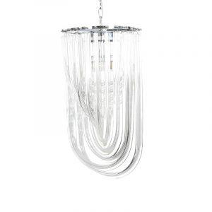 De Gigi hanglamp lang is een chique lamp met transparant kleur glazen staven. Ook leuk te combineren met rond Gigi hanglamp