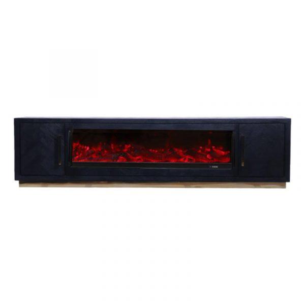 Wauw! Dit prachtige tv-meubel Bonita is gemaakt van zwart gebeitst mango hout met een visgraatmotief gecombineerd met een strak, zilveren metalen onderstel. Het stijlvolle tv meubel heeft 2 deuren, waardoor er genoeg opbergruimte is voor al jouw spullen. Verder is het tv-meubel verkrijgbaar in twee verschillende kleuren onderstel! Extra informatie: - 180x40x55cm - Rvs onderstel De Bonita meubel serie bestaat uit: Salontafel Bonita Bloktafel, Afmeting 130x70x45cm Salontafel Bonita, Afmeting 130x70x45cm Eettafel Bonita Afmeting: - 130 x 100 cm - 160 x 90 cm - 180 x 90 cm - 200 x 100 cm Dressoir Bonita 200x40x85cm TV-Meubel Bonita 180x40x55cm